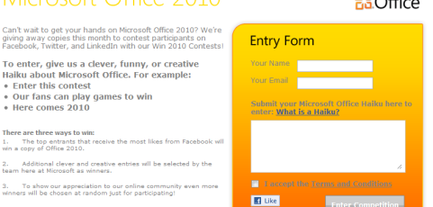 MS-Win Facebook Application and Website Page