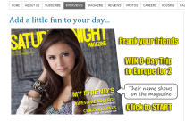 Saturday Night Magazine Prank Facebook Application and Website Page